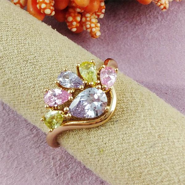 Кольцо Xuping Jewelry размер 17 Нева цветные медицинское золото позолота 18К А/В 2-0300