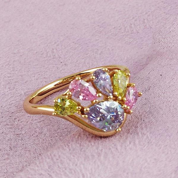 Кольцо Xuping Jewelry размер 20,5 Нева цветные медицинское золото позолота 18К А/В 2-0305