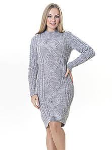 Тепле в'язане плаття Irvik PL548S світло-сірий