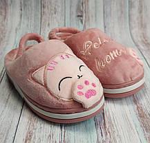 Детские тапочки тапки теплые комнатные для дома девочки домашние розовый котики 24/25р 15-15.5см, фото 3
