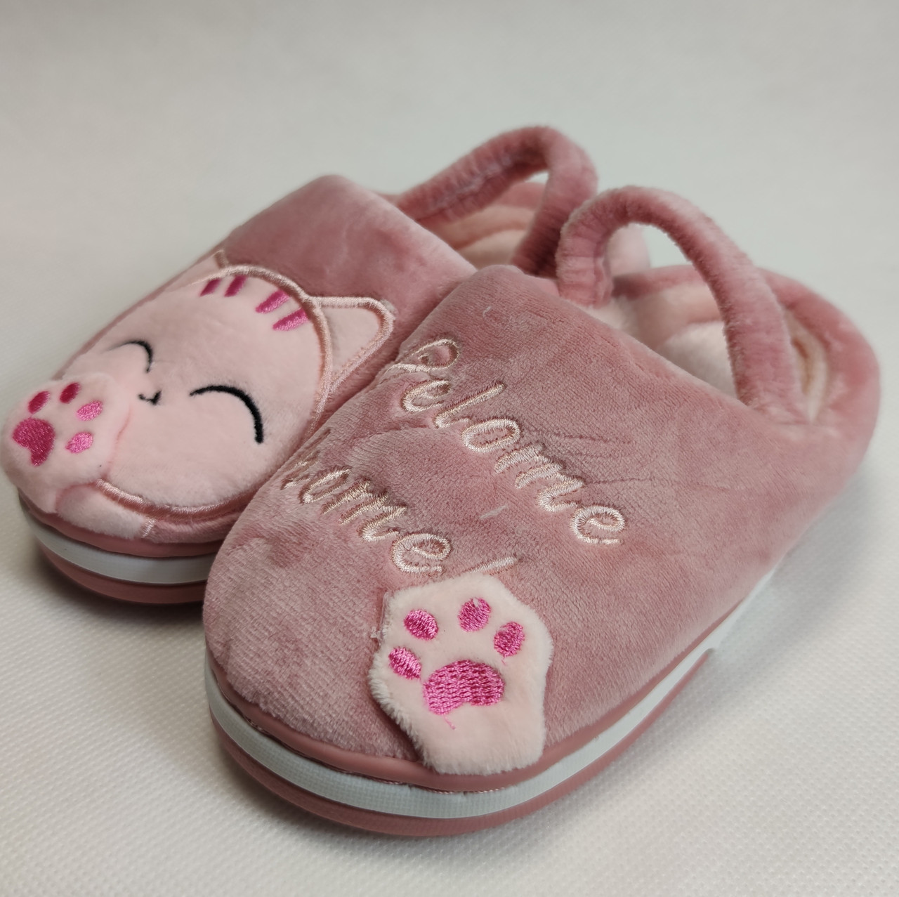 Детские тапочки тапки теплые комнатные для дома девочки домашние розовый котики 24/25р 15-15.5см