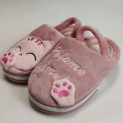 Детские тапочки тапки теплые комнатные для дома девочки домашние розовый котики 24/25р 15-15.5см, фото 2