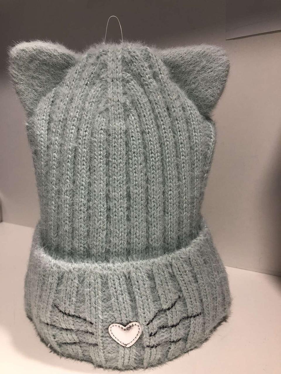 Шапочка зимняя для девочки на завязках ( 48-52 см) мятный