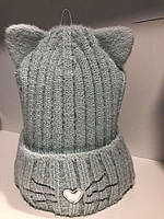 Шапочка зимняя для девочки на завязках ( 48-52 см) мятный, фото 1