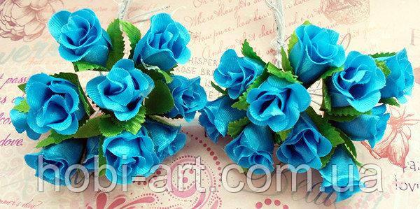 Троянди з тканини (пучок 9-10шт)  морська хвиля