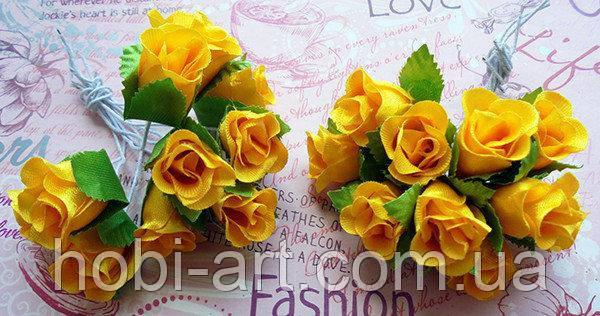 Троянди з тканини (пучок 9-10шт)  темно-жовті