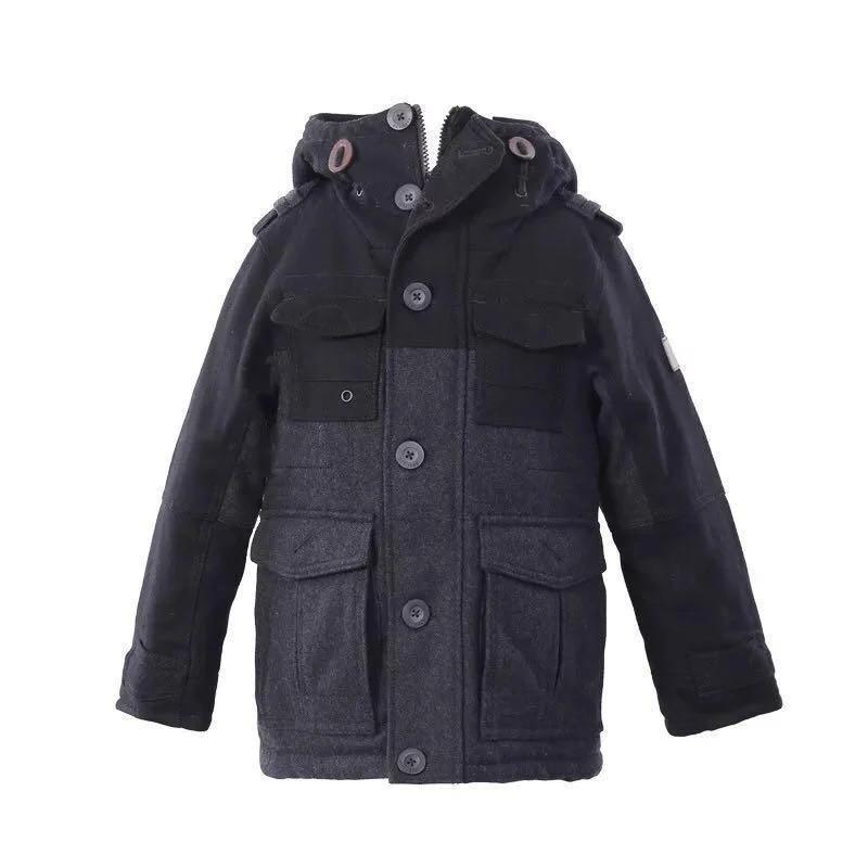 Детское пальто для мальчика зимнее стильное теплое Next, возраст 5-8 лет, цвет темно серый