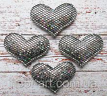Аплікація сердечко (сірий хамеліон)  3,8х2,8см, АР-182