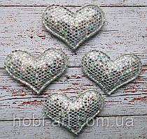 Аплікація сердечко (сріблястий хамеліон)  3,8х2,8см, АР-186