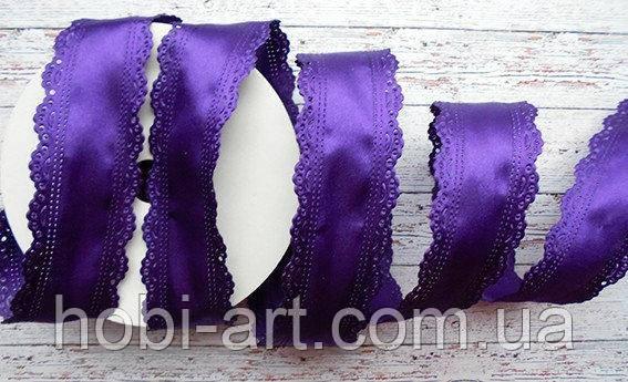 Стрічка атласна 35 мм з ажурним краєм  №11 темно фіолетова