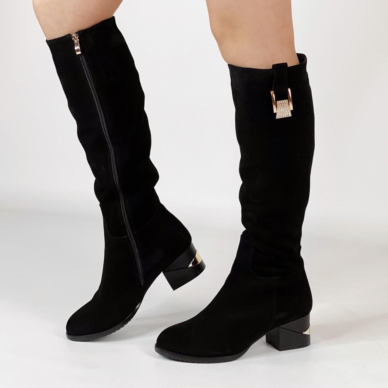 Сапоги женские замшевые черные на каблуке с золотой вставкой MORENTO зимние