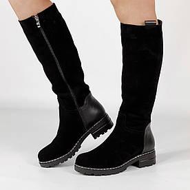 Жіночі чоботи BR-118 MORENTO (чорні, натуральна замша, натуральна шкіра, вовна,зима)