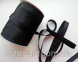 Коса бейка атласна 15мм чорна