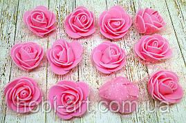 Бутон троянди рожевий, із фоамірану з фатином. 3,5 см