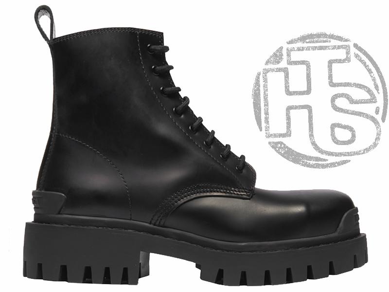 Женские ботинки Balenciaga Strike Lace-Up Boot Black 589338WA9601000 (матовые)