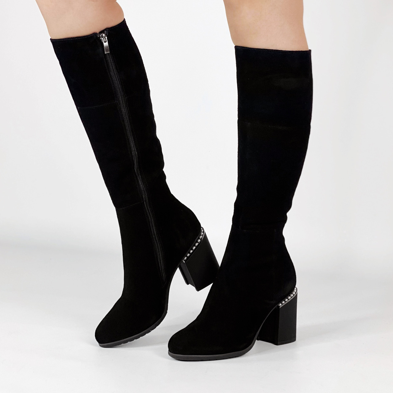 Сапоги женские замшевые черные на каблуке с жемчугом MORENTO зимние