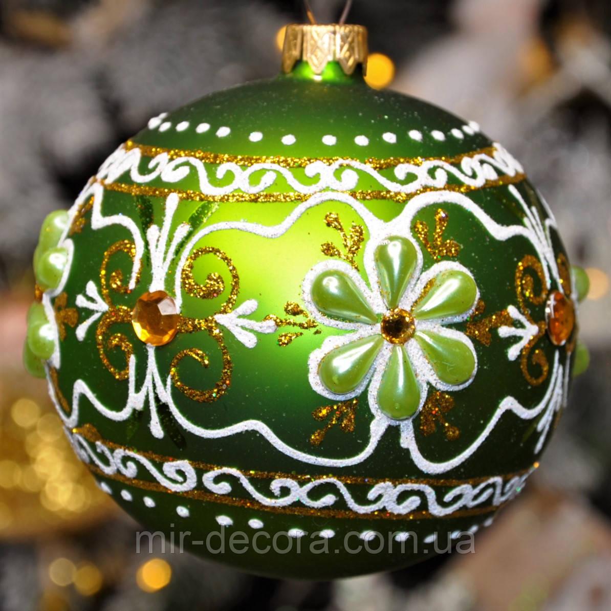 "Шар на елку с декором из камней ""Цветок полоса"" 80 мм"