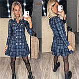 Трикотажное платье-пиджак в клетку 15-698, фото 3