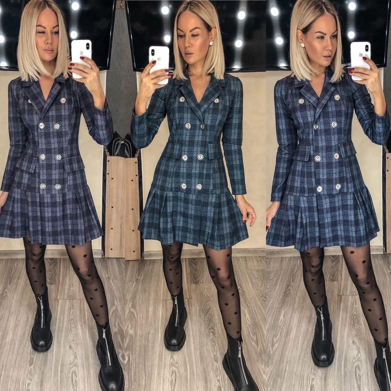 Трикотажное платье-пиджак в клетку 15-698
