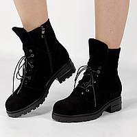 Ботинки женские замшевые черные с имитацией шнуровки MORENTO зимние