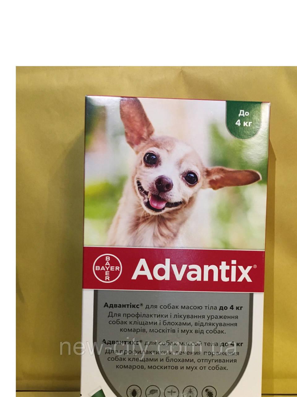 Bayer Advantix (Адвантикс) для собак до 4 кг за 1 пипетку