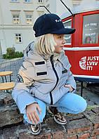 Модная куртка Эльвира для девочки подростка из светоотражающей плащевки Тренд 2021 серая