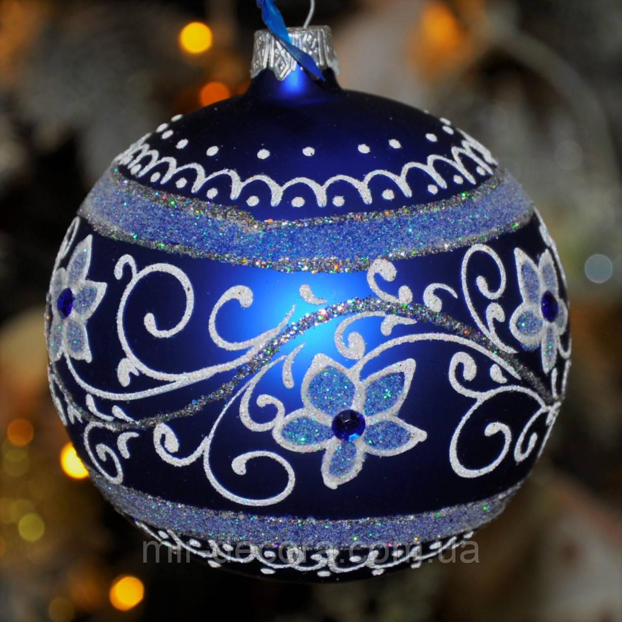 """Шары на новогоднюю елку из стекла """"Цветок в полоске"""" 60 мм"""
