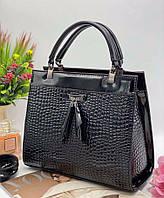 Женская сумка 06-16 черный. Каркасная женская лакированная сумка недорого купить в Украине, фото 1