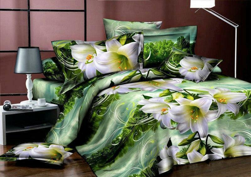 Красивое постельное белье, семейка, лилии