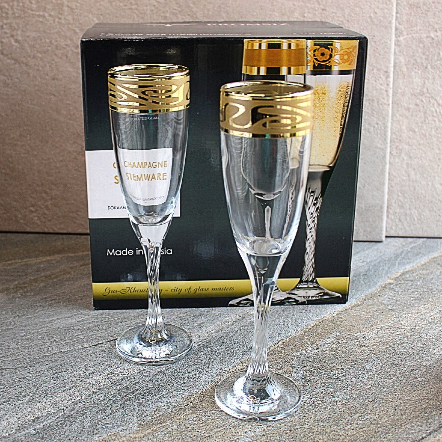Бокалы с золотом для шампанского на крученной ножке Гусь-Хрустальный Лагуна 175 мл (EAV259-307/S)