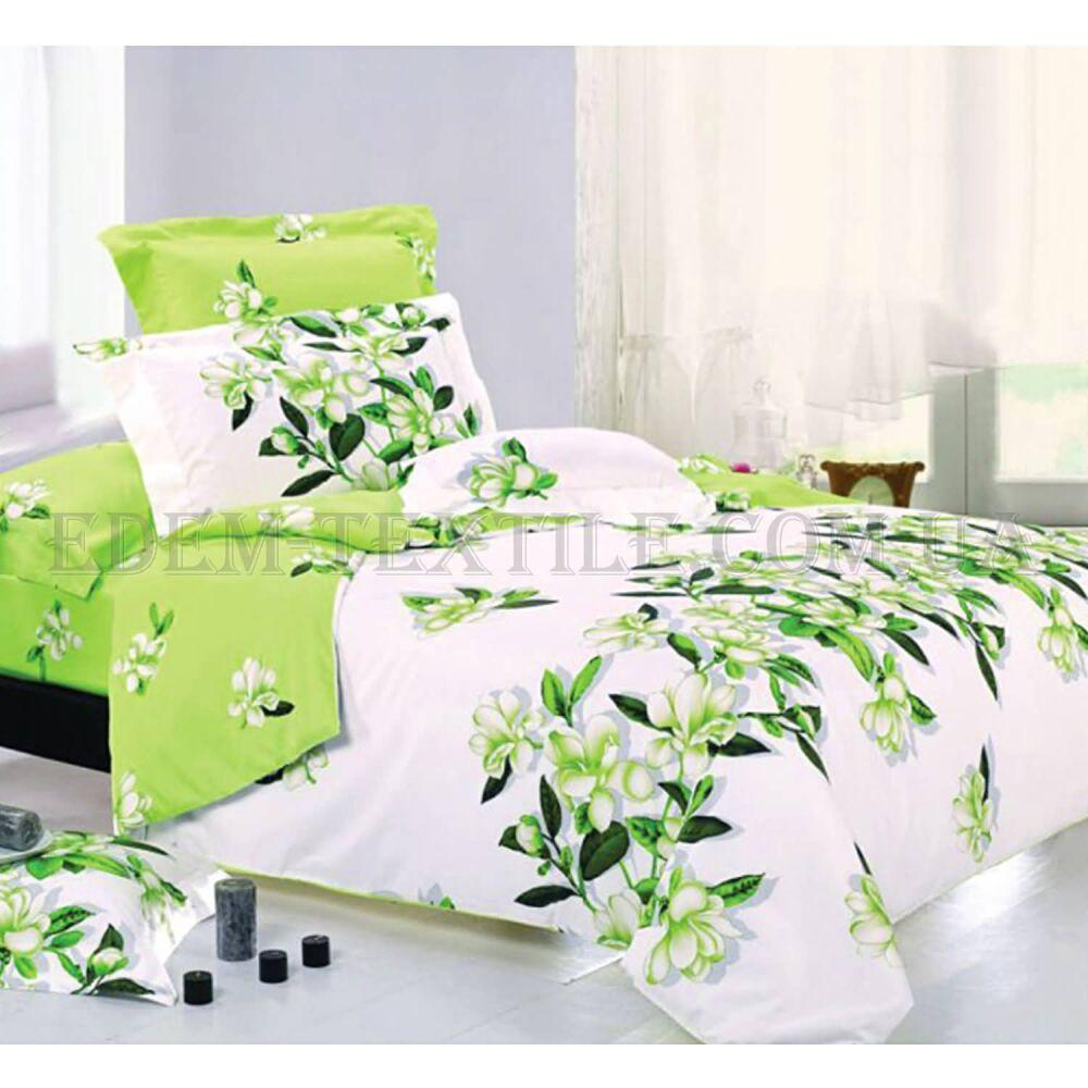 Комплект постельного белья отличного качества, двухспалка, салатовые цветы