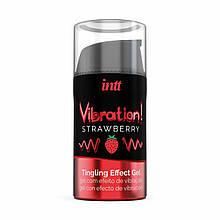 Возбуждающий гель (Жидкий вибратор) со вкусом Клубники Intt 15 мл - Love&Life