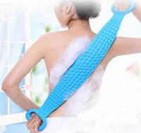 Массажер для тела СИНИЙ Food grate silica gel bath tower   Двухсторонняя силиконовая мочалка-массажер для тела