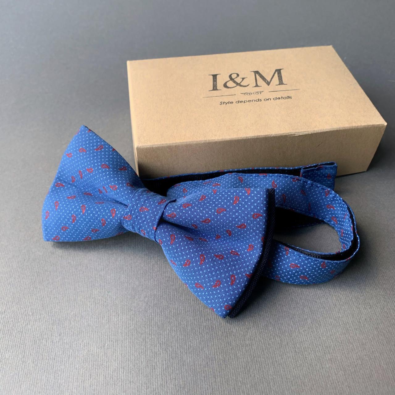Краватка-метелик I&M Craft синій в червоні перці (010238)