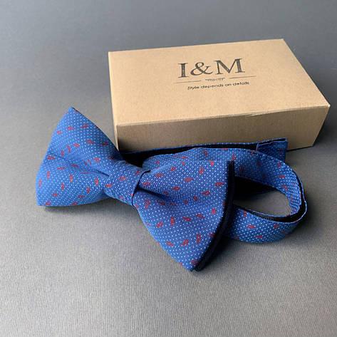 Краватка-метелик I&M Craft синій в червоні перці (010238), фото 2