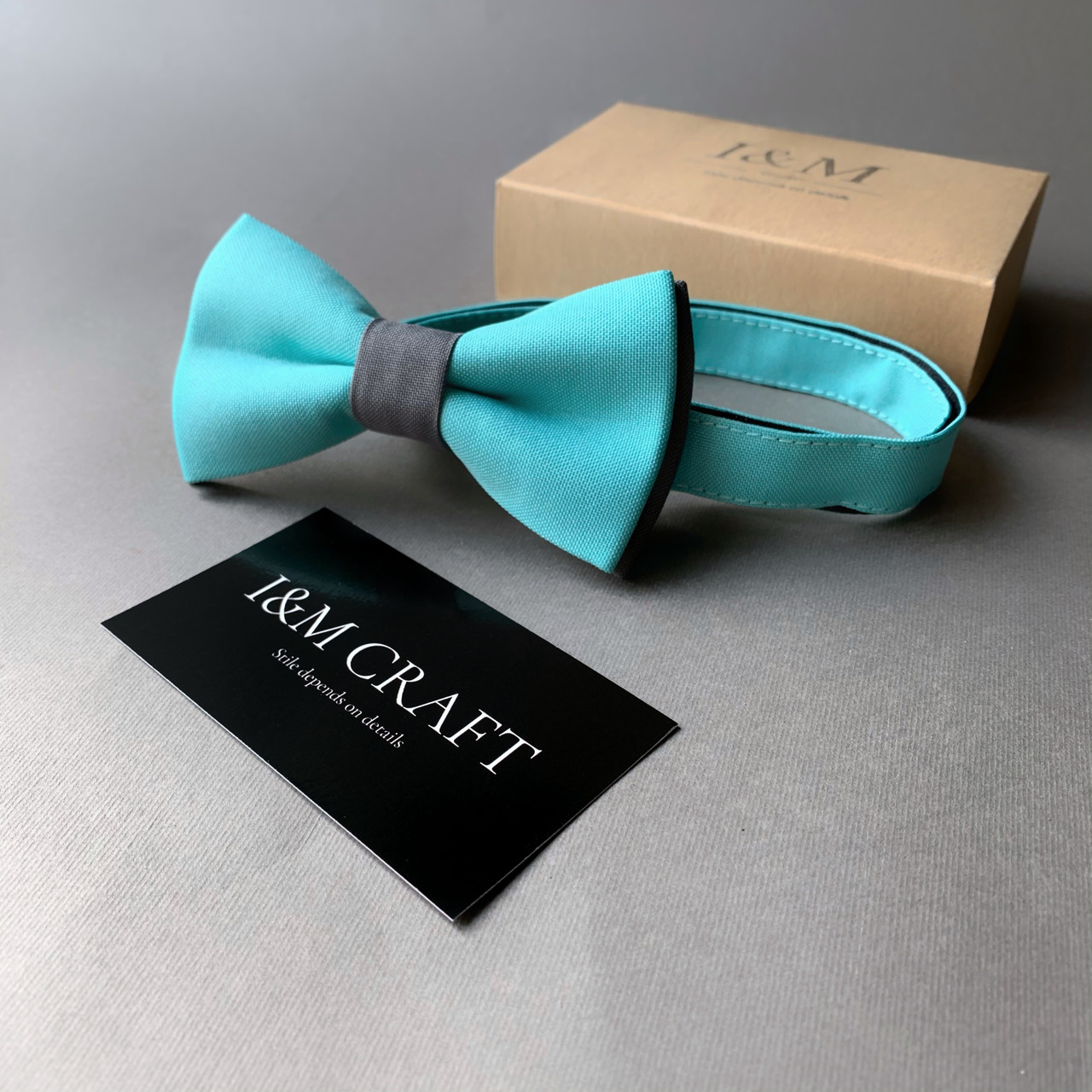 Галстук-бабочка I&M Craft двухцветный бирюзовый с серым (010605)