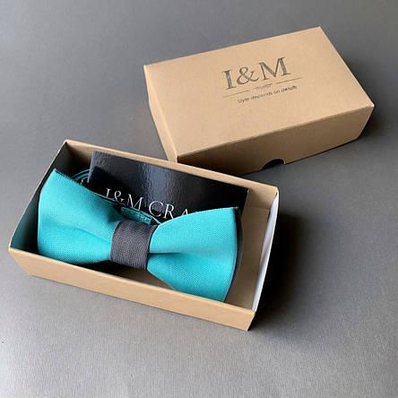 Галстук-бабочка I&M Craft двухцветный бирюзовый с серым (010605), фото 2