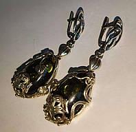 """Срібні сережки з натуральним зеленим бурштином """"Жабенятко"""", фото 1"""