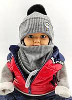 Шапка дитяча 46 48 50 52 розмір шапки в'язана головні убори дитячі теплі з флісом, фото 1