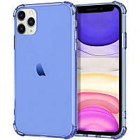 Чехол на iPhone 11 Pro Max (6,5 дюйм) / Айфон 11 Про Макс (6,5 дюйм) с усиленными углами синий / transparent