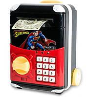 Игрушечный детский сейф 1808Z с электронным кодовым замком для детей, чемодан на колёсах Супергерои Супермен