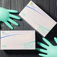 Нитриловые зеленые перчатки Polix Pro & Med S