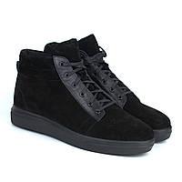Замшевые ботинки зимние кроссовки на меху черные мужская обувь Rosso Avangard Bridge Black Vel