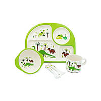 """Посуда детская бамбук """"Динозавры"""" Stenson MH-2773-4 Набор 5 в 1"""