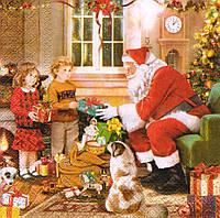 Декупажная салфетка Санта дарит детям подарки 5298