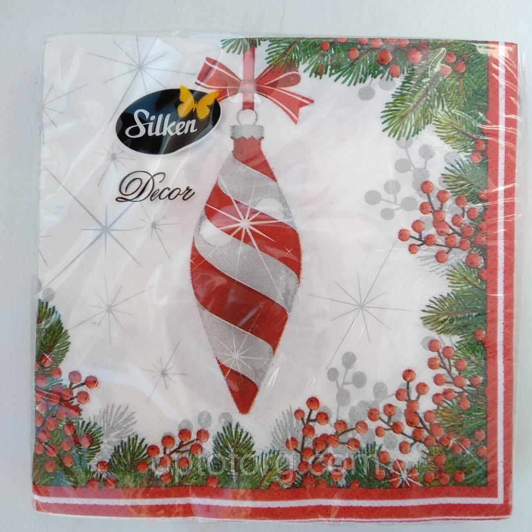 """Салфетки новогодние бумажные Silken """" игрушка  новогодняя шишка"""" 3 слоя 18 штук"""