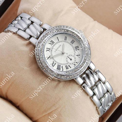 Модные женские наручные часы Cartier crystal Silver/White 519