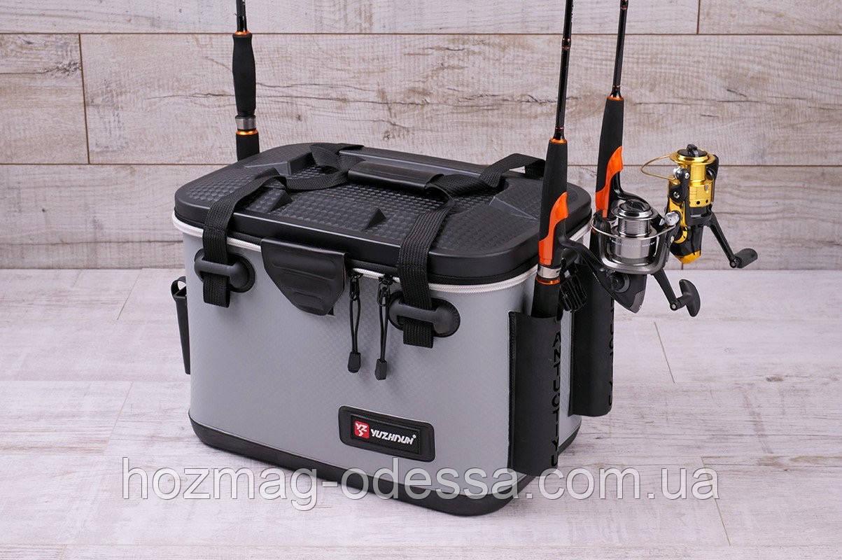 Сумка спиннингиста FanFish YZ-40 Gray со съемным лотком и держателями для спиннинга