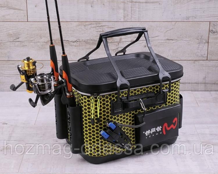 Сумка спиннингиста FanFish SM-40 Yellow со съемным лотком и держателями для спиннинга