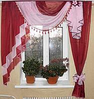 Ламбрекен №27а на карниз 1.5м. Цвет бордовый с розовым